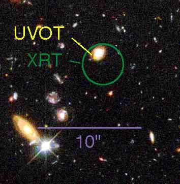 Comparison of Hubble deep field image with UVOT and XRT position.