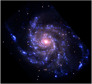 UVOT false-color image of the pinwheel galaxy M101, generated with the near-UV,  the blue, and yellow filters.