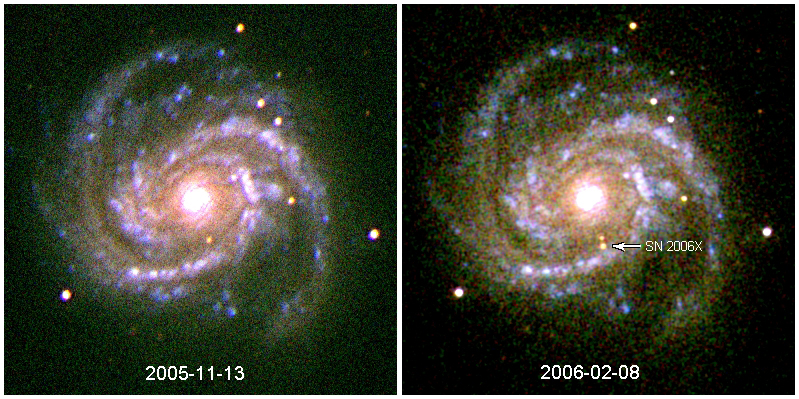 UVOT Observation of SN2006X in M100 in the V, B, and U bands.