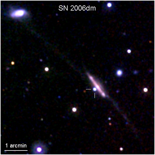 UVOT Image of Supernova 2006dm in MCG. See full description in accompanying paragraph.